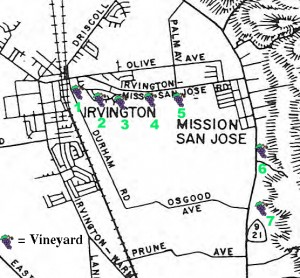 Figure 2: Map of Washington Township Wineries. Key: 1. Beard/Gallegos/ Palmdale Winery; 2. Grau-Werner (Los Amigos); 3. Rosa Bez; 4. DeVaux; 5. Riehr Winery; 6. McIver/Linda Vista Winery; and 7. Stanford/Weibel Winery.